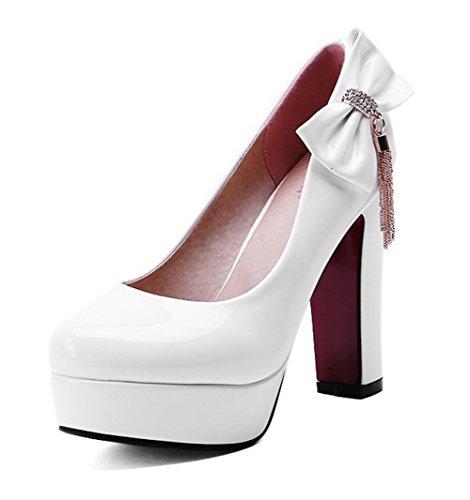 AllhqFashion Femme Rond à Talon Haut Verni Couleur Unie Tire Chaussures Légeres Blanc