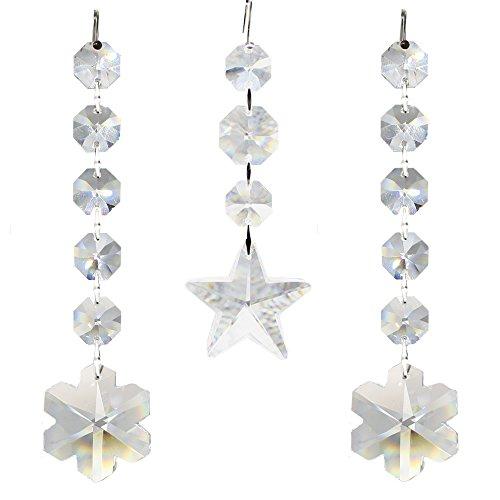 SET aus 3 Baumschmuck Kristall-Ketten aus 30% Bleikristall zum aufhängen als Christbaumschmuck oder Deko für Weihnachten, Kristall-Anhänger Stern und Schneeflocke Regenbogenkristalle hoch brillant