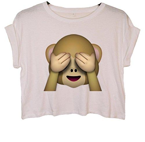 See-no-evil Monkey Emoji Bauchfreies Crop Top Weiß