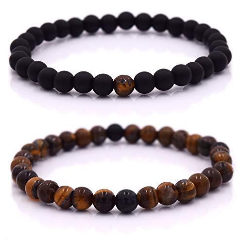 Armband Männer mit Perlen, Herren Armband, Perlenarmband Unisex in verschiedenen Farben (Schwarz - Braun) - Perle Armband