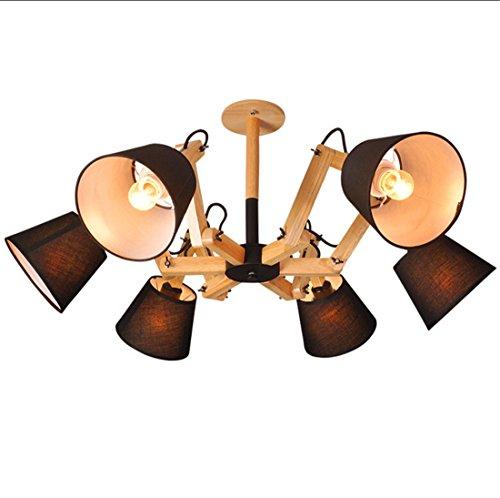 ayaya Camera da letto lampada soffitto design moderno illuminazione ristorante tessuto legno nero tessuto di filo paralumi grande camera da letto lampade indiretta, 80cm - Arcobaleno Classico Filato