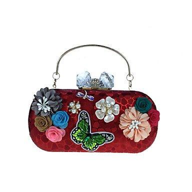 Frauen Abend Tasche Kunstleder alle Jahreszeiten Hochzeit Event / Party formale MinaudiereRhinestone Satin Flower Pearl Details Bead Blumen Blüten, (Co Leder Sling)