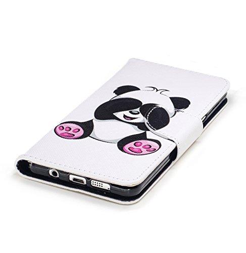 Cozy Hut Schutzhülle / Cover / Hülle / Handyhülle / Etui für Samsung Galaxy A5 (2016) A510 Bunt Muster Design Folio PU Leder Tasche Case Cover im Bookstyle mit Standfunktion Kredit Kartenfächer mit We Giant Panda