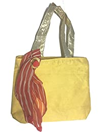 Credo Multipurpose Shopping Bag - Silk With Leheriya Scarf Tote Bag With Zipper Closure & Double Handles