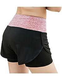 EU 32–36Mujer alta cintura Correr Pantalones Cortos 2en 1Delgado deporte Pantalones Cortos Para Entrenamiento Yoga Gym Fitness Pantalón Outdoor Short secado rápido, Mujer, Rosa, M - EU 34