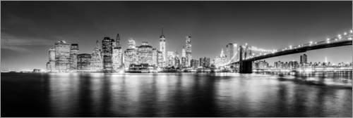 Posterlounge Acrylglasbild 180 x 60 cm: New York Skyline by Night (schwarz weiß) von Sascha Kilmer - Wandbild, Acryl Glasbild, Druck auf Acryl Glas Bild
