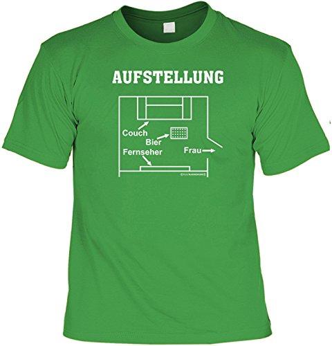 Das perfekte T-Shirt für den Männer / Fußball Abend: Aufstellung (Größe: L) T-Shirt - mit lustiger Urkunde !! Farbe: hellgrün (Aufstellung T-shirt)