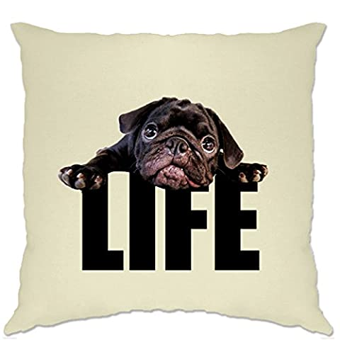 Life Of A Dog Pug Puppy Black Pug Cute Lazy Photograph LIFE Cushion Cover (Beige)