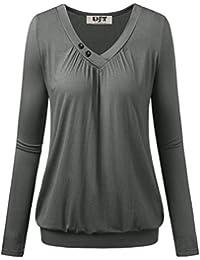 DJT Femme T-shirt Doux Manches longues Hauts Fluide Col V a boutons