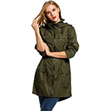 HOTOUCH Chaqueta asimetrica e impermeable larga para mujer. Ideal para deportes al aire libre ,de color negro/verde del ejército/azul marino M-XXL