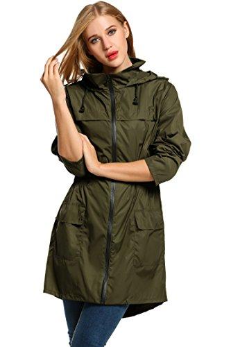 HOTOUCH Chaqueta asimetrica e impermeable larga para mujer. Ideal para deportes al aire libre ,de color verde del ejército