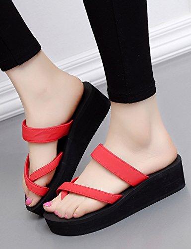 Neue Sommerkühle Pantoffeln Weibliche hochhackige Anti-Rutsch-Pantoffeln Sandwich-Sandsandalen ( Farbe : 1 , größe : EU37/UK4.5-5/CN37 ) 2