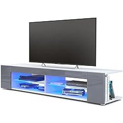 Vladon Meuble TV Armoire Basse Movie, Corps en Blanc Mat/Façades en Gris Haute Brillance avec l'éclairage LED en Bleu