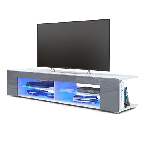TV Board Lowboard Movie, Korpus in Weiß matt/Fronten in Grau Hochglanz inkl. LED Beleuchtung in Blau
