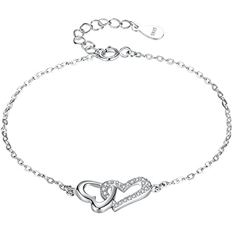 Sterling Silver Linked Hearts in Love with Cubic Zirconia Bracelet