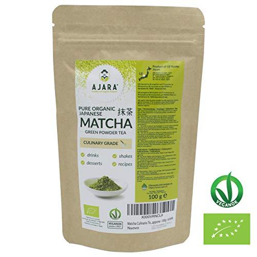 Japanischer Grüner Tee BIO Pulver Matcha | Für Süßigkeiten, Smoothies, Rezepte | Energetisch, Antioxidantien Antistress, Entgiftend | Hergestellt in Uji (Kyoto) Japan | 100g Beutel -