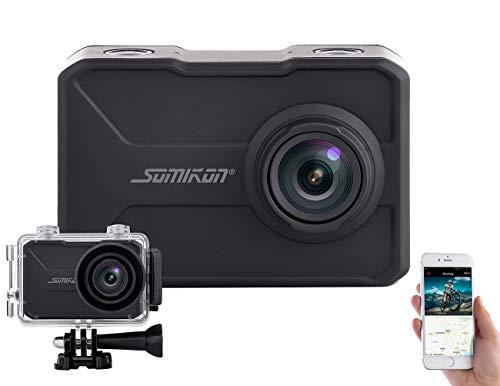 Somikon Helmkamera: 4K-Action-Cam mit GPS und WLAN, Unterwasser-Gehäuse mit IPX8 (Actionkamera)