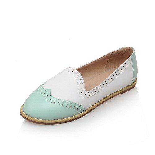 VogueZone009 Femme Couleurs Mélangées Pu Cuir Non Talon Fermeture D'Orteil Rond Tire Chaussures à Plat Bleu