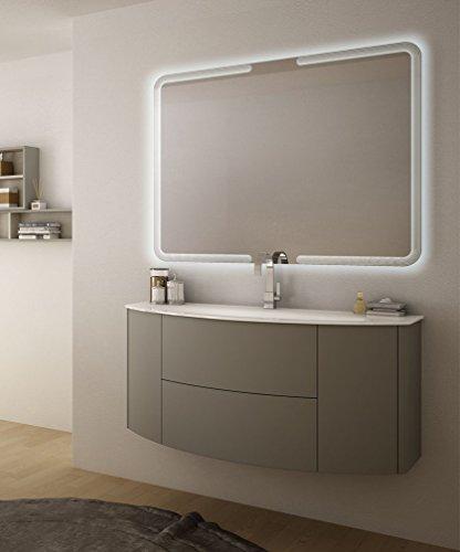 Mobile bagno sospeso moderno eden push grigio talpa, misura cm 120, con specchio a led e lavabo in vetro