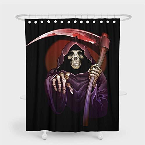SFQAZW Cartoon Sensenmann Print Duschvorhang Halloween Nightmare Badezimmer Dekor Wasserdicht Bad Vorhang Polyester Wohnkultur (W) 150x(H) 180cm