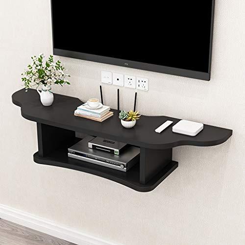 Top-komponente Regal (Wandregal Schwimmendes Regal TV-Wandregal Set Top Box Router DVD-Player Regal TV-Hintergrund Wanddekoration Regal Multifunktionsregal (Color : Black, Size : 60cm))