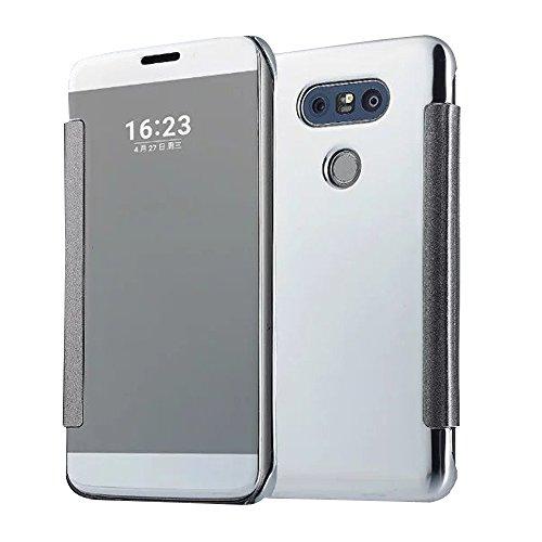Cuitan Luxus Electroplate Spiegel PC Flip Hülle (PU Leder Verbinden) für LG G5, Mode Kreative Entwurf Plating Mirror PC Hart Schutzhülle Handyhülle Handytasche Tasche Case Cover - Silber