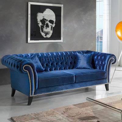 M-030 Chesterfield 3-Sitzer-Sofa, Velours, klein, Blau