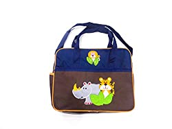 brown blue diaper bag with tiger print