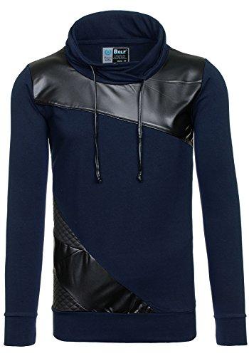 BOLF Herren Pullover Sweatshirts Langarm Pulli ohne Kapuze MIX Dunkelblau_3210