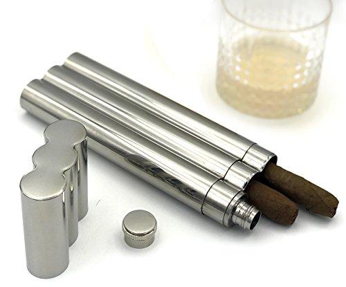 Seemann Köln Praktische Kombination aus Flachmann und Zigarrenetui geeignet für 2 Zigarren aus Edelstahl ? die Geschenkidee für Trauzeugen, Männer und Hochzeiten