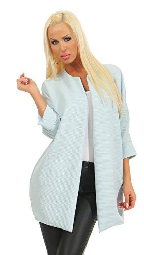 4952 Fashion4Young Damen Blazer Business Jacke Verschlusslos Damenjacke Kragenlos Überwurf (hellblau, 36-38)