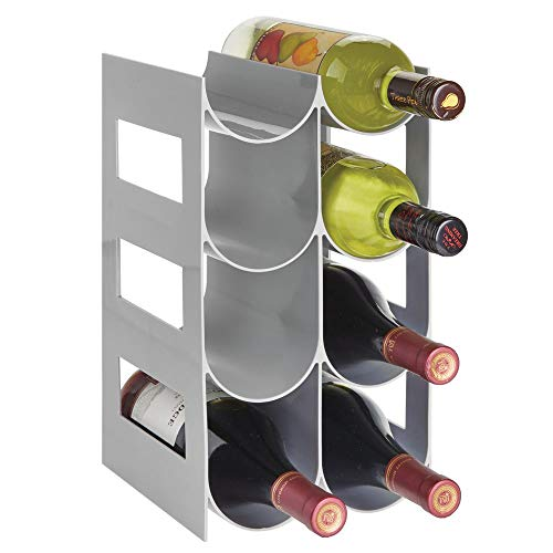 mDesign praktisches Wein- und Flaschenregal - Weinregal Kunststoff für bis zu 8 Flaschen - freistehendes Regal für Weinflaschen oder andere Getränke - grau
