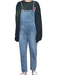 f454cbb667 Women s Dungarees Casual Denim Trousers Washed Jeans Ladies Slim Straight  Leg Pants Overalls Bib Long Length