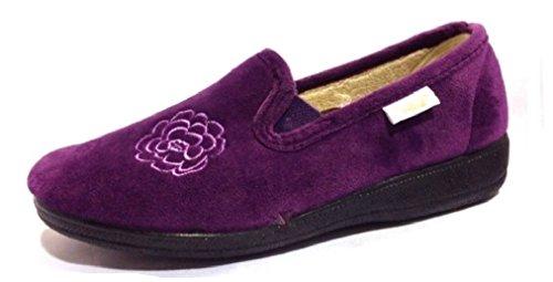 Bleu marine/violet pour femme à talon bas Semelle rigide fleur Chaussons en microdaim Violet