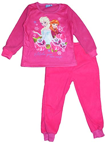 Disney Frozen Anna ELSA Winter Polar Fleece Pyjama Set (Rosa, 4 Jahre)