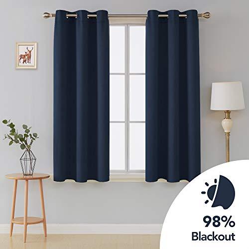 deconovo Verdunkeln isoliert Blackout Tülle Fenster Vorhänge Panels Set of 2Für Wohnzimmer, Polyester-Mischgewebe, marineblau, 42x54 Inch -