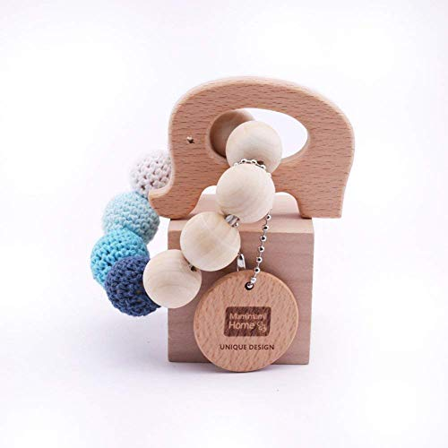 Teether Holz Elefanten geformt Kinderkrankheiten Nursing Armband Chew Spielzeug Montessori Baby Teether Spielzeug ()