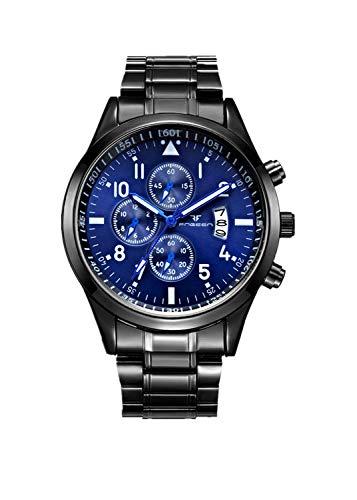 OPALLEY Herren Casual Uhr Quarz Edelstahl Sport Wasserdicht Designer Kalender Analog Datum Chronograph Fashion Business Casual Leicht zu lesende Armbanduhren