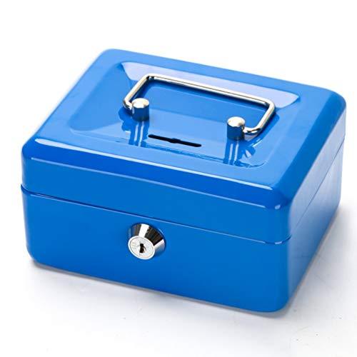 Kleine Geldkassette mit Tastensperre, tragbare Metall-Spardose mit Doppelschicht und 2 Schlüsseln für Sicherheit 12,5 * 10 * 5,6 cm (S, Blau)