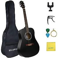 Guitarra acústica de acero de tamaño completo de 41 pulgadas para principiantes conestuche, cuerdas, gancho de guitarra,templador,paño de limpieza (41 pulgadas dreadnought)