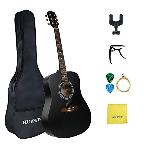 HUA WIND Akustikgitarre Set Anfänger, Akustikgitarre Stahlsaiten Akustik Gitarre Erwachsene(matte black )