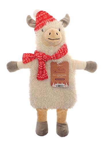 Kinder Wärmflasche mit Abdeckung 1L 100% Naturkautschuk Plüsch Peluche Kaninchen Koala Rentier Weihnachten Elf Rainbow Unicorn Geschenk Zubehör (Lama)