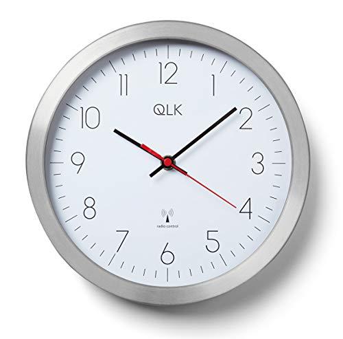 QLK Funkwanduhr weiß Slight (Ø) 25 cm Metallrahmen mit geräuscharmem Uhrwerk mit schleichender Sekunde