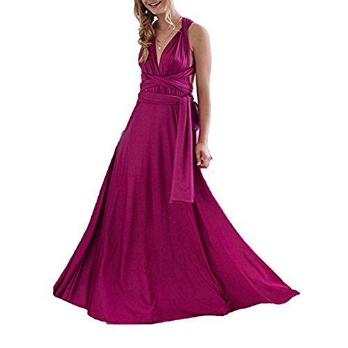 Lover-Beauty Kleider Damen V-Ausschnitt Rückenfrei Neckholder Abendkleider Elegant Cocktailkleid Multi-Way Maxikleid Lang Chiffon Party Kleid Rose rot