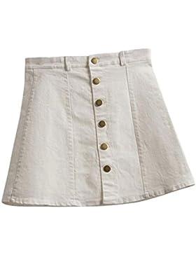 Faldas, Challeng Falda de la cintura de la moda de las mujeres falda de mezclilla de estilo coreano (s, blanco)