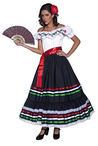 Authentische Western Kollektion Sexy Senorita Kostüm mit Kleid und Schärpe              , Large (Last Minute Fancy Dress Kostüm)