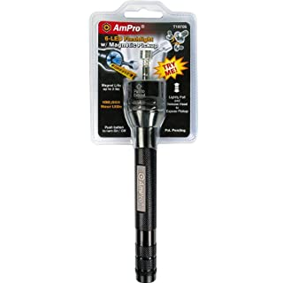 Ampro T19705 Black Half-Clamshell 6-LED Flashlight/Magnetic Pickup Tool