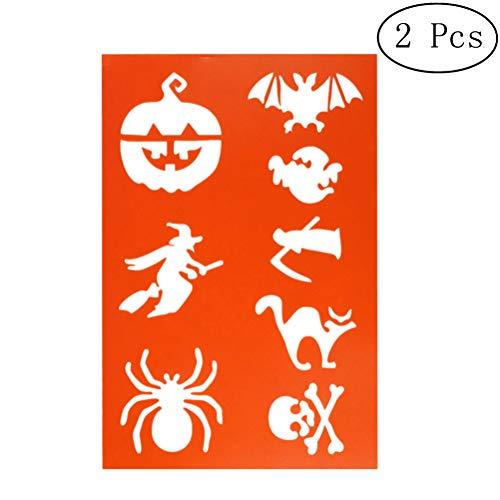 SUPVOX 2pcs Kunststoff Zeichenschablonen Halloween Hexe Kürbis Spinne Dekoration für DIY Fotoalbum Scrapbooking Kuchen machen (Orange)