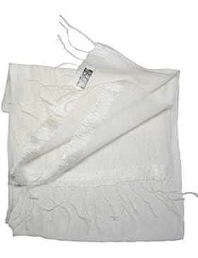 Bees Knees Fashion - Bufanda - Crema blanca de lino con cantos grandes de la bella bufanda de seda