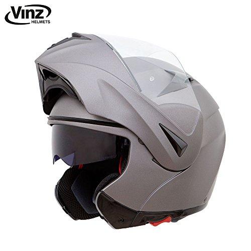Vinz Klapphelm mit Sonnenblende | Titanium Silber | Motorrad Helm Integralhelm | Motorradhelm...